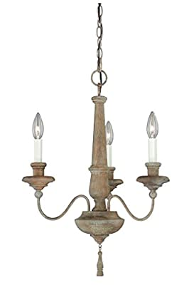 Vaxcel H0078 Lucca 3-Light Chandelier, Vintage Wood