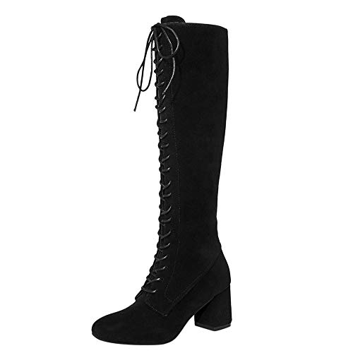 8c4c8f22d91 Sunmoot Knee High Boots Women Lace up Chunky Square Heeled Cloth Slim Shoes