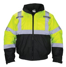 SAS Safety 690-1508 Hi-Viz Class-3 Hooded Bomber Jacket, Medium, Yellow by SAS Safety (Image #1)