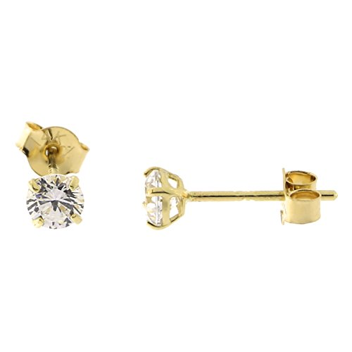 (14k Yellow Gold Basket Set Cubic Zirconia Stud Earrings, 3mm (0.22ctw))