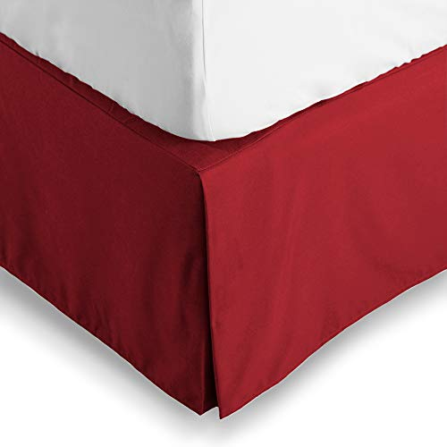 (Bare Home Bed Skirt Double Brushed Premium Microfiber, 15-Inch Tailored Drop Pleated Dust Ruffle, 1800 Ultra-Soft Collection, Shrink and Fade Resistant (Queen, Red) )