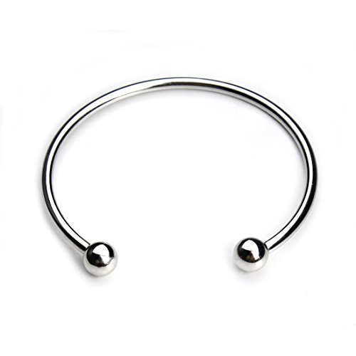 Linsoir Beads 316 Stainless Steel Minimalist Unisex Torque Bangle Bracelet with Removable End Beads Free Size Ball Cuff Bracelet 2 pcs/lot ()