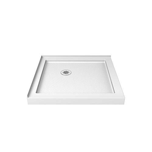 (DreamLine SlimLine 36 in. D x 36 in. W x 2 3/4 in. H Corner Drain Double Threshold Shower Base in White)