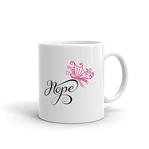 (Hope Breast Cancer Awareness Pink Coffee Tea Ceramic Mug Office Work Cup Gift 15 Oz)