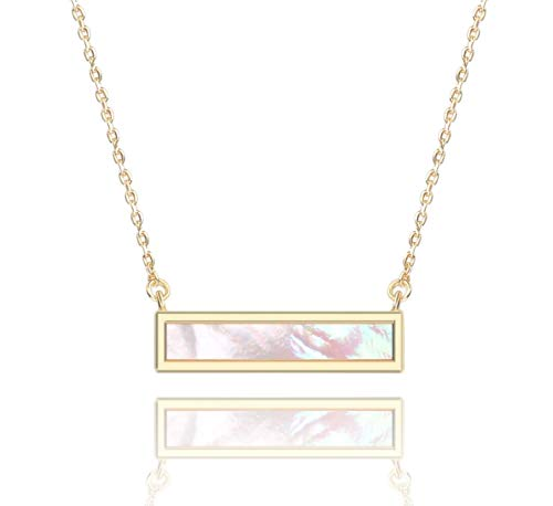 Mens Mother Of Pearl - COZLANE Gold Bar Pendant Necklace for Women in Abalone and Mother of Pearl Shell