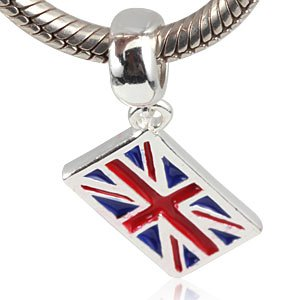 925 Sterling Silver Dangling British Flag Charm Bead fit for DIY Charm Bracelet & Necklace