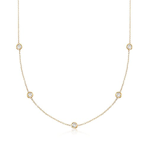 (Ross-Simons 1.00 ct. t.w. Bezel-Set Diamond Station Necklace in 14kt Yellow Gold)