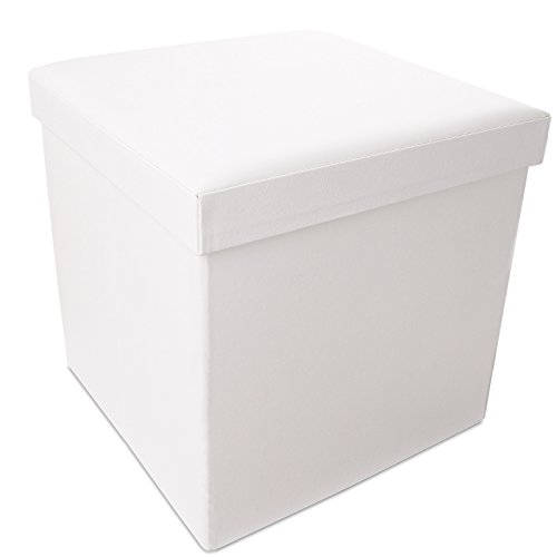GHC White Folding Ottoman Closet Storage with Cover Footstool Waterproof Faux Leather collapsible ottoman Furniture(White) - White Leather Furniture