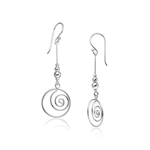 (Big Apple Hoops - Genuine 925 Sterling Silver ''Be Recognized'' Elegant Spiral Swirl and Solid Ball Bar Dangle Earrings Delicate and Unique Design | in 3 Finishes (Silver, Yellow Gold, Rose Gold))