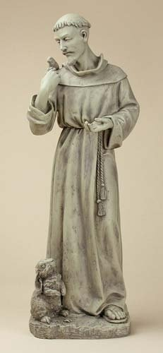 Joseph Studio 89944 Tall St. Francis with Bunny Garden Statue, - Queen Stores St