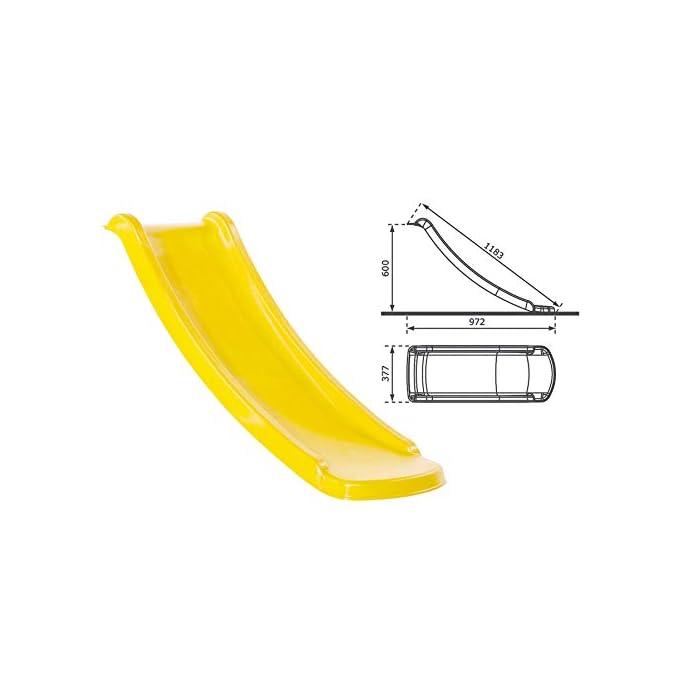 31CiIQYfCSL Torre de madera lila y tobogán amarillo, presas de escalar, asas y tapas protectoras Tobogán en polietileno de alta densidad, aprobado TÜV Longitud total con tobogán 188cm. Torre 70x70cm x 120cm de altura