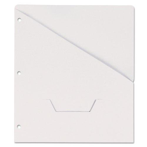 (UNIVERSAL 61687 Slash-Cut Pockets for Three-Ring Binders, Jacket, Letter, 11 Pt., White,)
