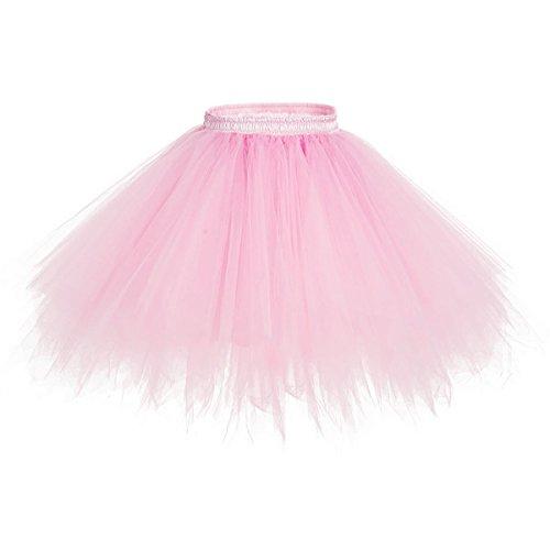 Apiidoo Women's Ballet Bubble Tutu Costume Vintage Petticoat Layered Dance Skirt Pink