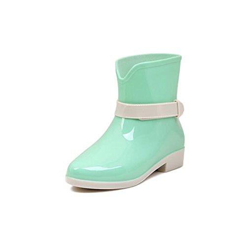 Angelliu Girls Pure Candy Color Jelly Anklt Rain Boots Wellies Green DdFJTja