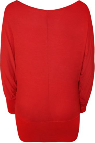 WearAll manches unis coloris chauve souris pull Rouge Robe Fr8xfF