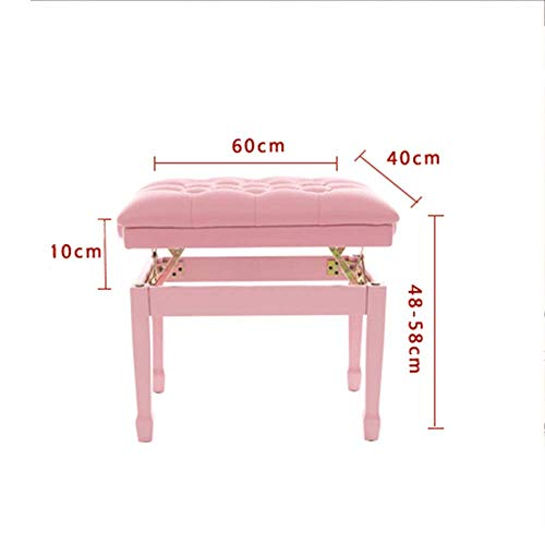 NBVCX Mechanical Parts Piano Bench Piano Stool Cute Pink Piano Stool Kawaii Solid Wood Breathable Digital Piano Chair Adjustable Piano Bench (Color : Pink Size : 60x40x58cm)