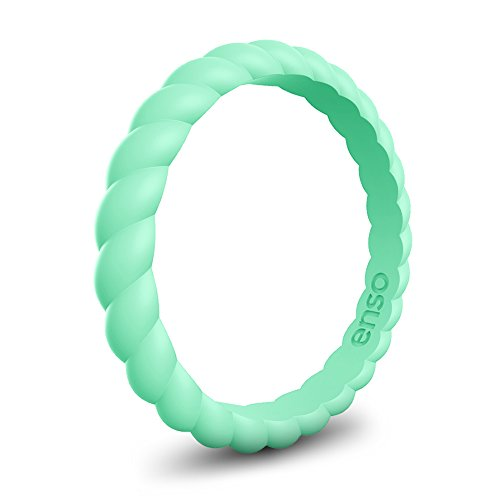 Enso Womens Braided Silicone Ring Mint Green Size: 5