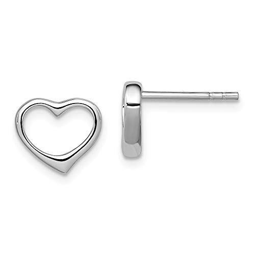 Diamond Earrings Heart Open (Diamond2Deal 925 Sterling Silver Rhodium- Plated Open Heart Post Earrings)
