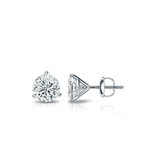 Diamond Wish 14k White Gold Round Diamond Stud Earrings (1/2ct TW, J-K, I1-I2) 3-Prong Martini, - 3 Prong Studs Martini