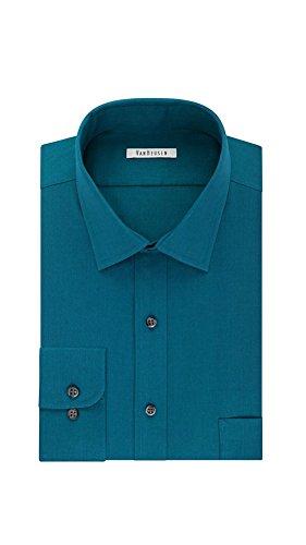 Van Heusen Big & Tall Regular Fit Flex Collar Pincord Wrinkle Free Dress Shirt (Neck 18.5 Sleeve 34/35, Lake) (Wrinkle Dress Shirt Free Van Heusen)