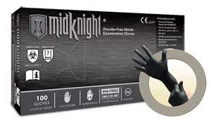 Textured Medium Black PF Nitrile Pack of 100 Microflex MK-296-M-Box Midknight Exam Gloves