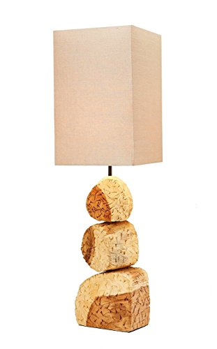O'THENTIQUE Solid Wood Table Lamp Beige Linen Shade Coastal Lighting Beach House lamp Rustic Textured wooden lamp Bedside lamp Sidetable lamp Table lamp light