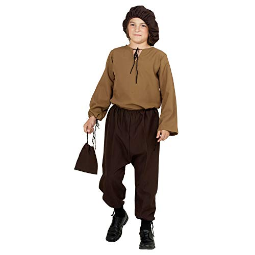 Arology Renaissance Peasant Boy Child Size Costume Fabric for Comfortable Fit, Including Shirt, Pants, Pouch, and Hat (Large (12-14))