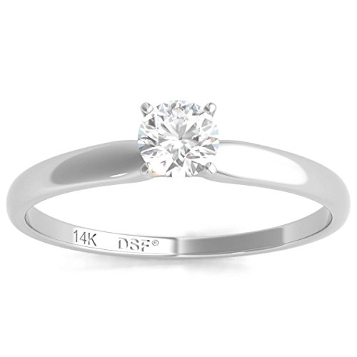 Diamond Studs Forever 14K White Gold Solitaire Engagement Ring (IGI USA Certified, GH/I3)