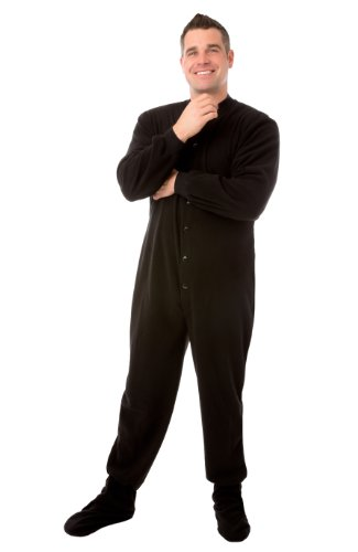 Big Feet PJs Black (203) Micro-polar Fleece Adult Footed Pajamas with Drop Seat (L)