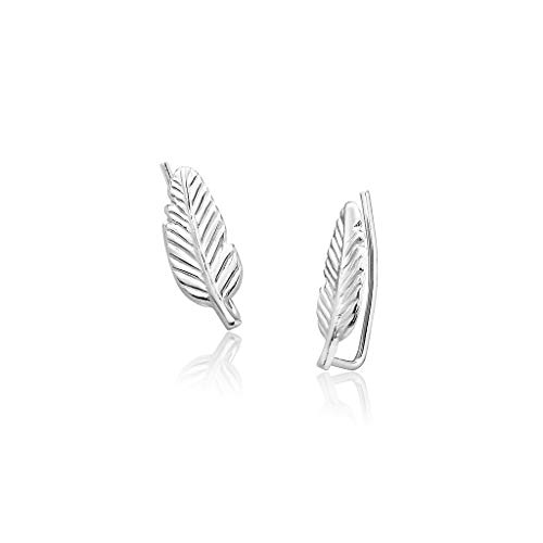 Big Apple Hoops - Genuine Sterling Silver ''Beauty of Nature'' Tiny Lucky Feather Climber Earrings | Super Cute with 3 High Polish Mirror Finishes (Silver, Yellow Gold, Rose Gold)