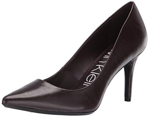 (Calvin Klein Women's Gayle Pump eggplant varnished crackle leather 9.5 M US)