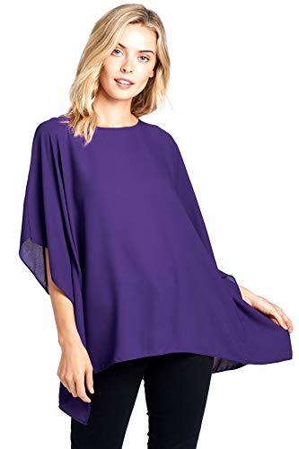 Asymetrical Tunic (Modern Kiwi Opaque Chiffon Caftan Poncho Tunic Top Purple One Size)