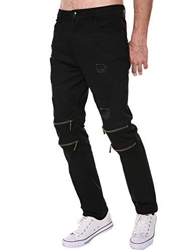 DAZZILYN Mens Slim Fit Stretch Ripped Destroyed Holes Skinny Jeans Zippers Denim Pants by DAZZILYN (Image #2)