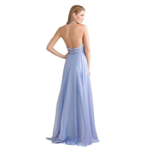 Blau Abendkleid Mieder Linie Perlen GEORGE BRIDE A Schatz Halter Chiffon Awqzw4