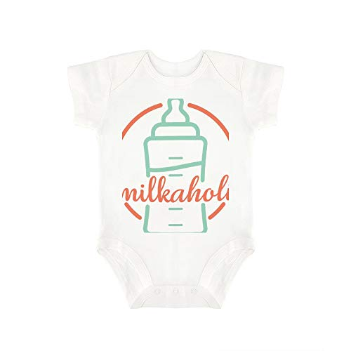 (Promini Cute Baby Onesie Milkaholic Baby Bodysuit Infant One Piece Baby Romper Best Gift for Baby White)