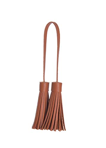 ZOONAI Women Leather Tassel Bag Tag Handbag Wallet Purse Decorations (Brown) -