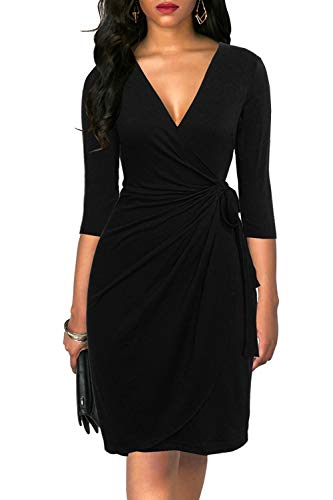 Liyinxi Women's Retro 3/4 Sleeve Work Office Knee Length Business Black Pencil Wrap Dress with Belt (XL, 6083-Black)