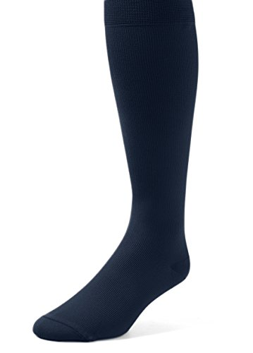 EMEM Apparel Women's Plus Size Queen Mild Graduated Compression Support Over the Calf Nylon Socks Hosiery 12-15 mmHg 2-Pack Navy (Queen Size Hosiery)