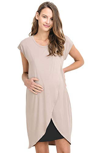 Hello Miz Color Block Asymmetrical Breastfeeing Maternity Nursing Dress...