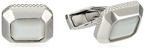 Tateossian Silver MOP White Jaipur Cabochon Cuff Link