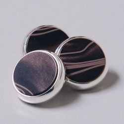 (YAMAHA XENO Trumpet Finger Buttons Set of 3 Silver plated with Chocolate Swirl Custom Inlay)