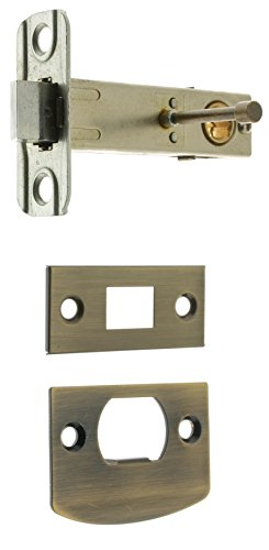 IDHBA 21120V-005 Premium Quality Solid Brass Privacy Tubular Latch, 2-3/8-Inch Backset, Antique Brass