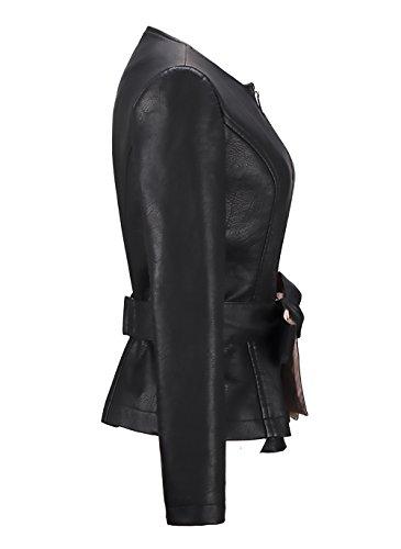 Finta Nero Inverno Rotondo Chic Cinghie Moda Vintage Donna Slim Lunga In Fashion Pelle Cappotto Giubbotto Zip Fit Moto Manica Corto Autunno Casual Giacche Con Giacca Ragazza Collo Hx pq1Ra