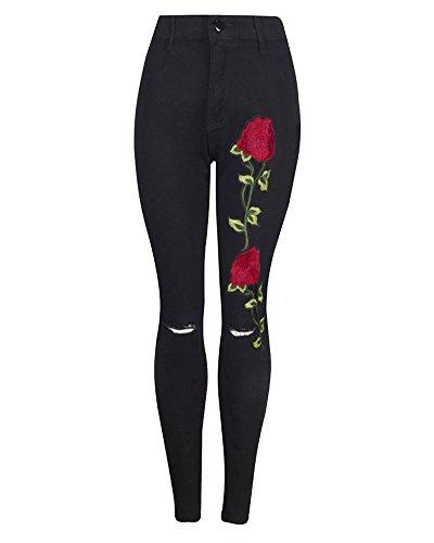 Eleganti Donna Casuale Nero Floreale Piccoli Zhuikuna Jeans Piedi Ricamato Skinny q7T6g4Wfw