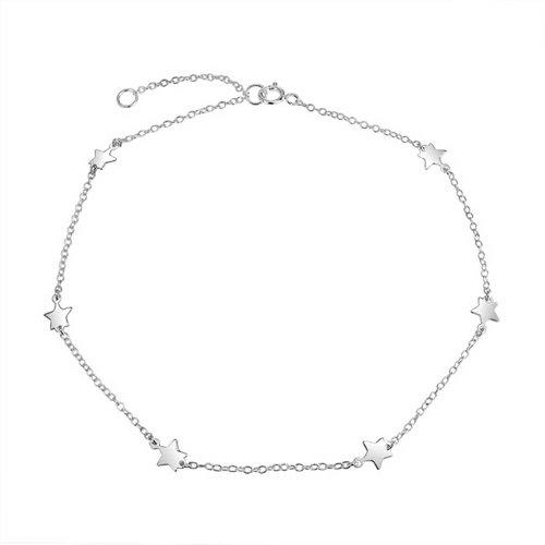 (Patriotic Star Station Link Chain Anklet Charm Ankle Bracelet For Women Sterling Silver Adjustable 9-10 Inch)