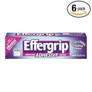 - Effergrip Denture Adhensive Cream, Extra Holding Power, 2.5 Fl Oz (Pack of 6) by Effergrip