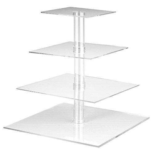 Utenlid 4-Tier Square Stacked Party Cupcake and Dessert Tower - Clear Acrylic Cake Stand by UtenLid®