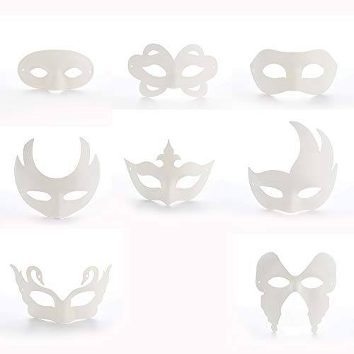 BELUPAI 8 Pcs Halloween Blank Painting Mask Full Face DIY Mask Cosplay Masquerade Halloween Party Favors -