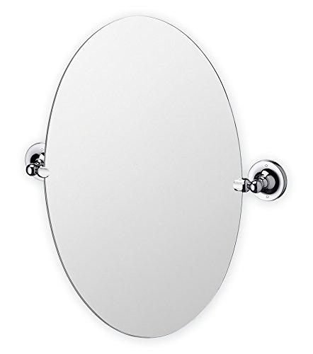 Bathroom Mirror, Oval Round Swivel Pivot Chrome Silver Finish Wall Mounted  Mirror