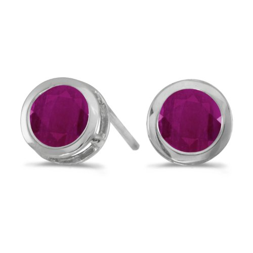 1.00 Carat (ctw) 14k White Gold Round Red Ruby Solitaire Stud Earrings with Post with Friction Back (5 (Satin Jewel Collection Ruby)